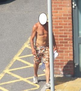 near naked man in July 2013 heat wave